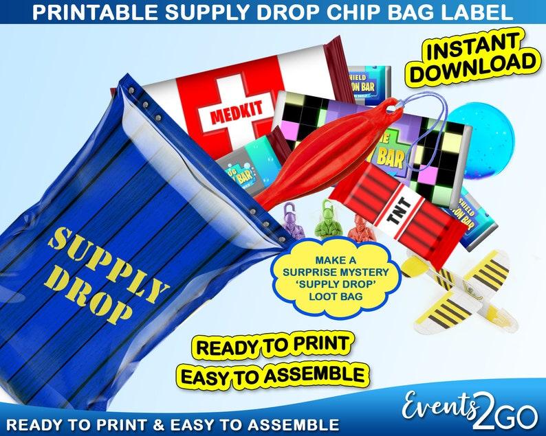 Mystery Blind Loot Goody Party Favor Blue Drop Box Crate Digital Printable Instant Download DIY Gamer Drop Crate Chip Bag