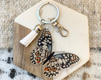 Personalised butterfly keyring Personalised keychain gift Engraved charm Butterfly gift Wooden Name charm Gift for nana