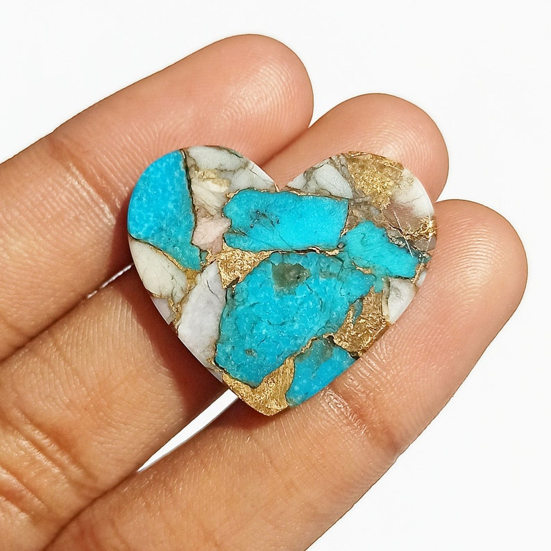 Use For Healing Power Pink Turquoise 19.5 Ct Handmade Cabochon Beautiful Heart Shape Pink Opal Turquoise 23x26x4 Size Healing Gemstone