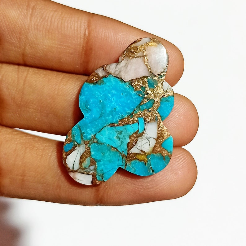 AAA+ Pink Mohave Cloud Shape 35x23x4 Size Cabochon Quality Pink Opal Copper Turquoise 20.5 Ct Healing Gemstone For Bridesmaid Jewelry