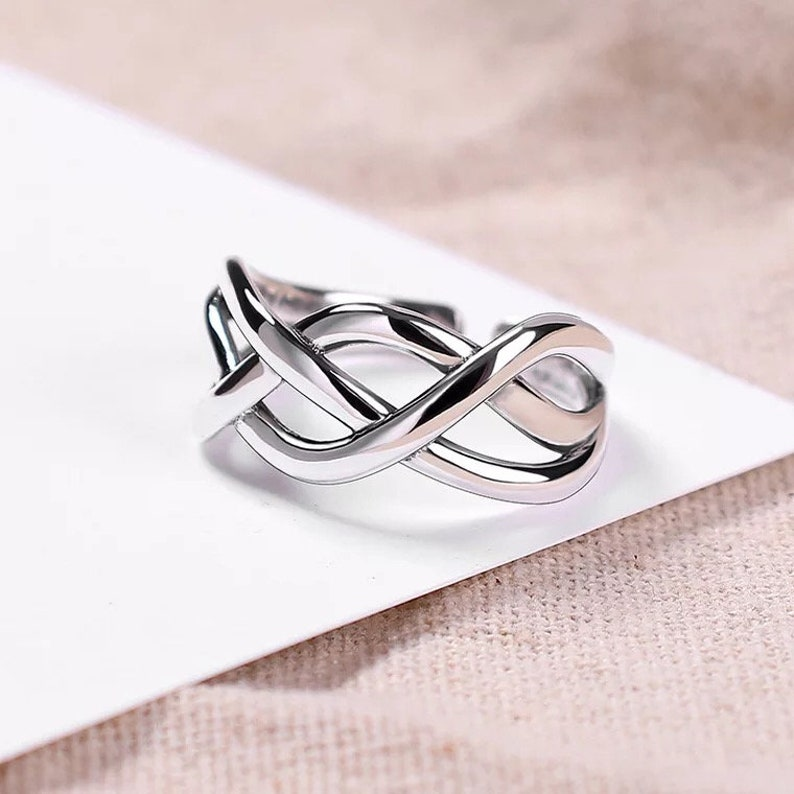 R011 S925 925 Sterling Silver Real Solid Women Band Ring Wedding Engagement Adjustable One-Size-Fits-All