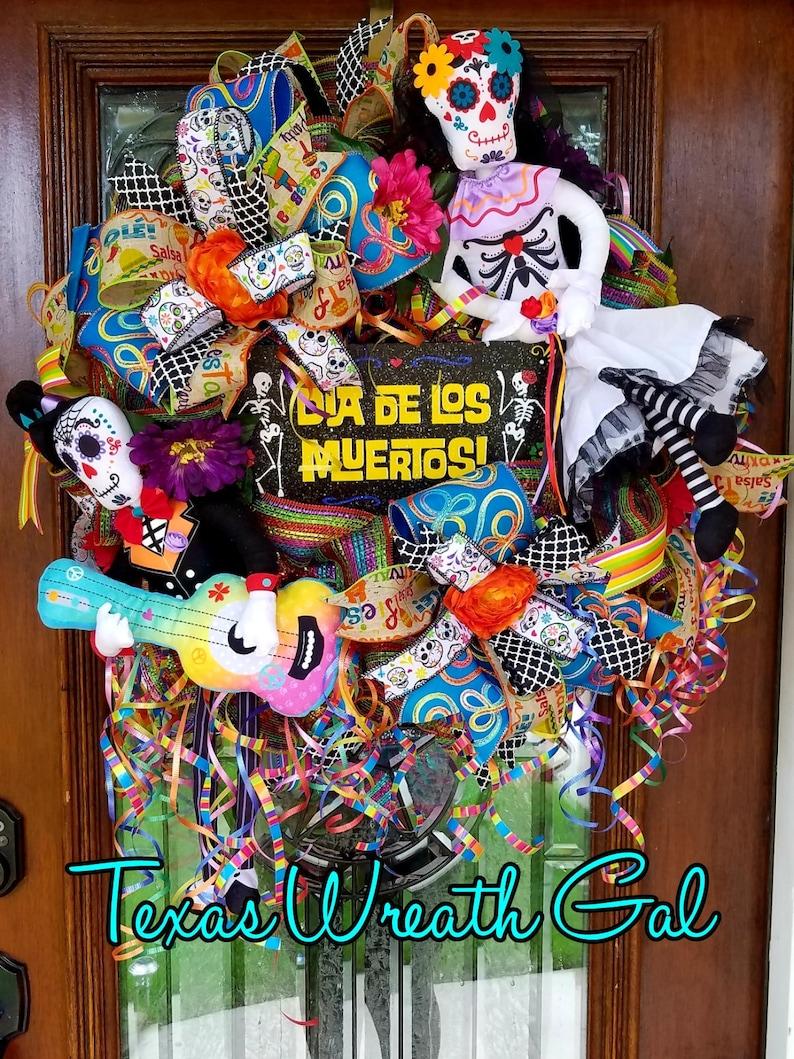 Dia De Los Muertos Wreath Day of the Dead wreath sugar skull image 0