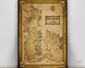 Game of thrones map | Etsy Map Of Game Thrones Poster on