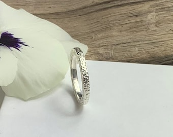 Sterling Silver ring - Textured silver band ring - silver thumb ring - wedding band