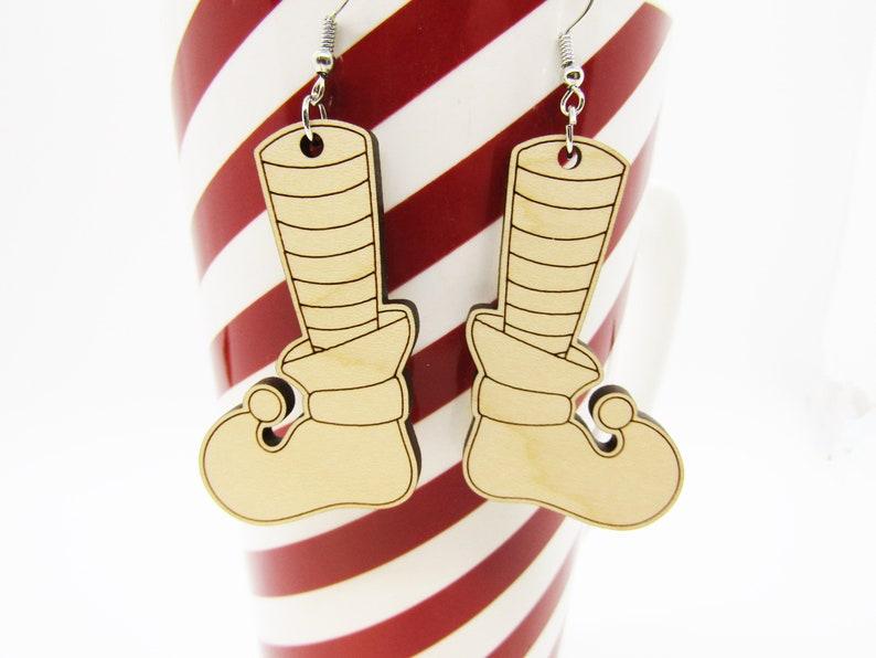Lightweight Earring Christmas Elf Shoes Elf Earrings Christmas Earrings Wood Earrings Laser Cut Wooden Earring