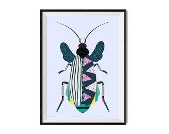 Linocut Print One of a Kind Nature Garden Creepy Cute Beasties Entomology Bug Insects Print Original Art