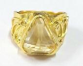 Citrine Nugget Ring, Medieval Ring, Fancy Cut Citrine Ring, Facet On Top, Citrine Quartz Statement Ring