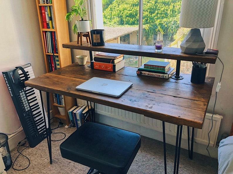 Rustic Computer Desk - Extra Riser Shelf For Monitor