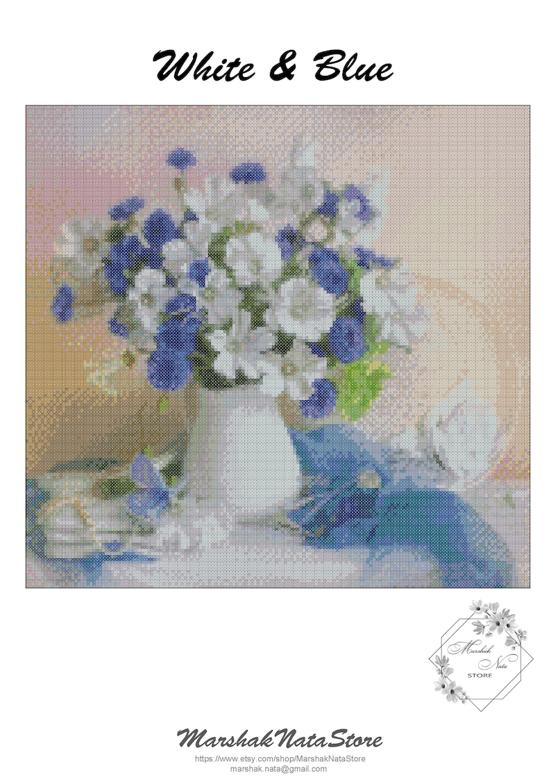 Flowers Embroidery Blue-white bouquet of flowers cross stitch pattern PDF Digital Download.