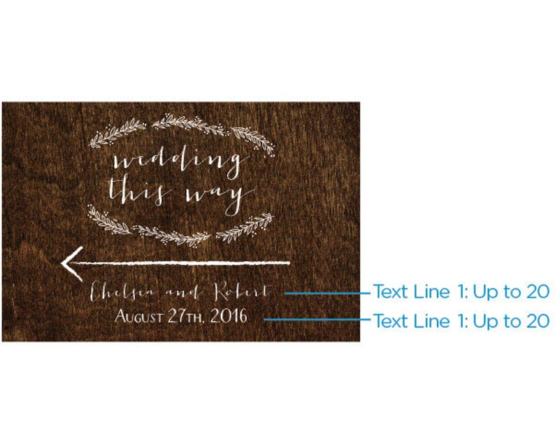 Party Favor 18x12 Weddings /& Anniversary Party Guest Gift for Bridal Showers Personalized Directional Sign - Rustic