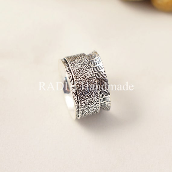 925 Silver Ring*Meditation Ring*Anxiety Ring*Statement Ring*Handmade Ring*Wide Band Ring*Rings for Woman*Silver Spinner Ring*Band Ring