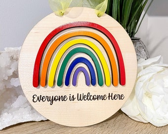 LGBTQ, Rainbow, Pride Month, Gay Pride , Be Kind, Transgender. Queer, Rainbow Pride Classroom Sign, Everyone is Welcome Here,