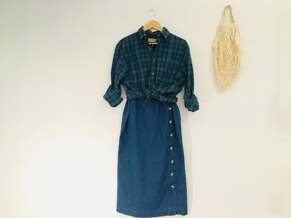 vintage '90s denim button front long skirt, maxi j