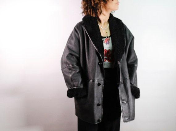 Vintage  black sheepskin coat