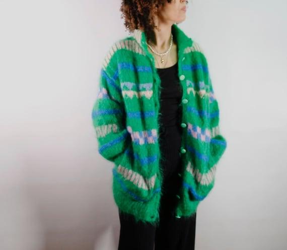 Handmade green mohair cardigan