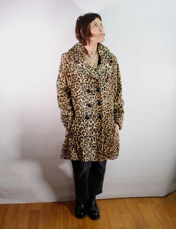 Vintage 1960's leopard faux fur coat