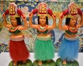 Vintage 1984 Hawaiian Hula Girl Tahitian Dancers Souvenir - Dancing Dashboard Dolls - Wahine Figurine Tropical Paradise Ukulele Collectible