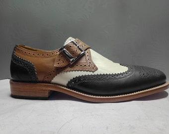 e70311115dd1e men's handmade multi color leather monk shoes men's brogue wingtip multi  color leather monk shoes handmade men's multi color party wear shoe