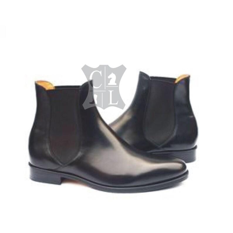8267999cd24 men's black leather Chelsea boots handmade men's black ankle high boots  men's black long boots handmade black leather Chelsea boots