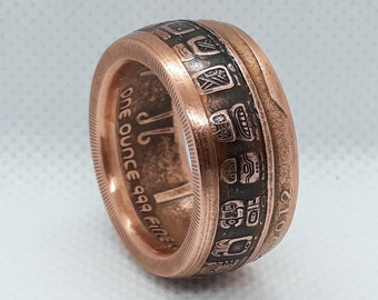 Size 10 14 Patina Finish Coin Ring Spain Made from a 1983 Circulated 50 Pesetas Crown Coin