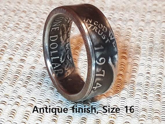 Birthday Gift BICENTENNIAL 1776-1976 Eisenhower Dollar Coin Ring Anniversary