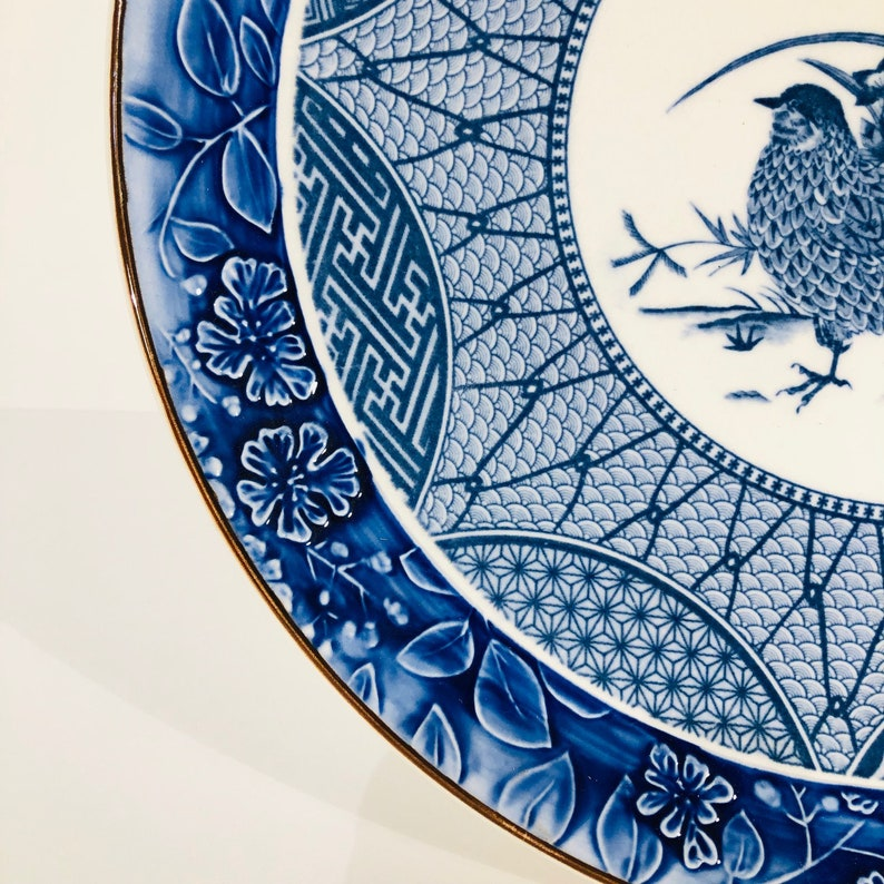 Vintage Plate #0243JW English Earthenware China Plate 1930s Antique Collectors Game Birds Plate Flow Blue Vintage Collectible  Plate
