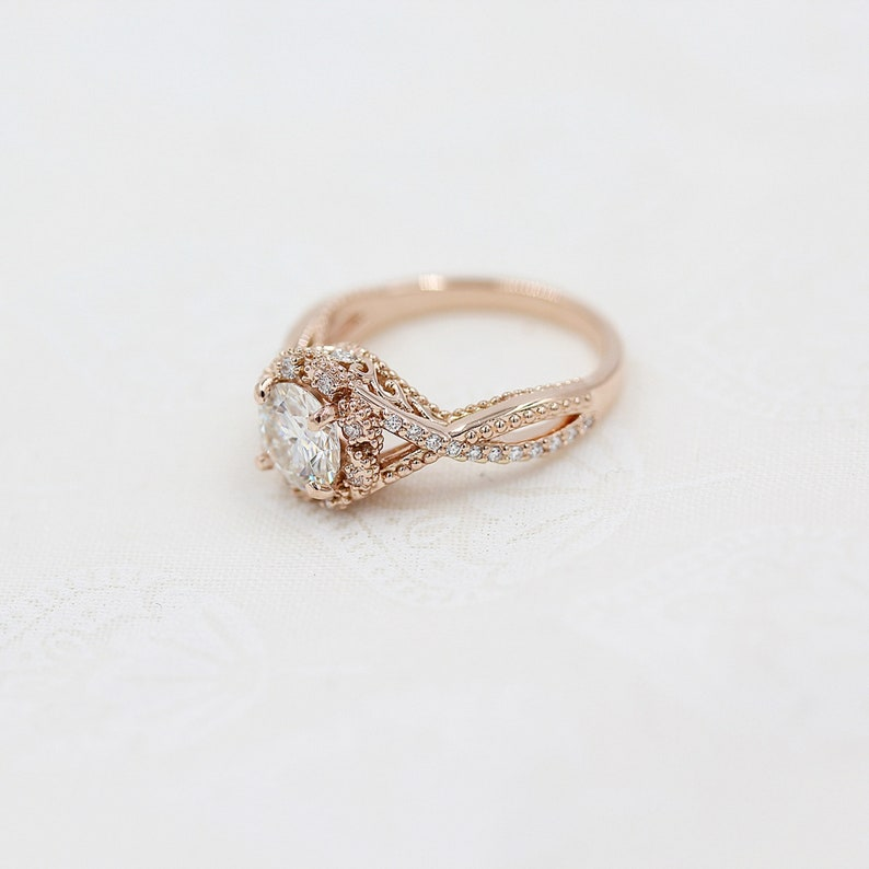 Antique Diamond Ring in 10KT Rose Gold Vintage Diamond Ring,Gift For Her 2.00 Ct White Round Moissanite Halo Wedding Ring