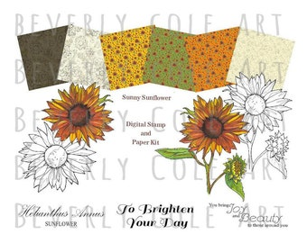 Sunny Sunflower Digital Stamp & Paper Kit.  Includes Color PDF Print and Go Sheet for Quick and Easy Projects