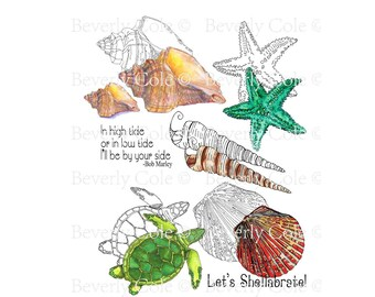Nature of the Beach Digital Stamp Set sister set of Sand Dune Silhouettes shells, sea turtle and starfish, vacation, shore collage, coloring