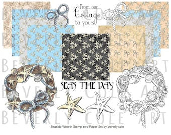 Seaside Wreath Stamp and Paper Kit. Resizable sets in color or to color yourself plus patterned papers.