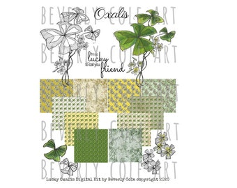 Lucky Oxalis Kit includes 10 papers, sentis and hand colored stamps and  blk & wt. For Scrapbooking, Collage, Cards, Ephemera, Wall Art