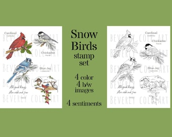 Snow Birds stamp set hand drawn and colored by Beverly Cole