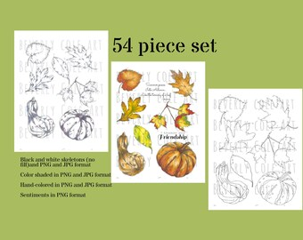 Autumn's Gifts Stamp Set for collage, cards, scrapbooking, party decor, crafts, placecards, digital download, jpgs, pngs, thanksgiving, Fall