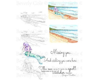 Mermaid Wishes Digital Stamp Set PNG Ocean, Beach, Fantasy, Sea for collage, vacation, girls, love, coloring, collage, cardmaking, theme