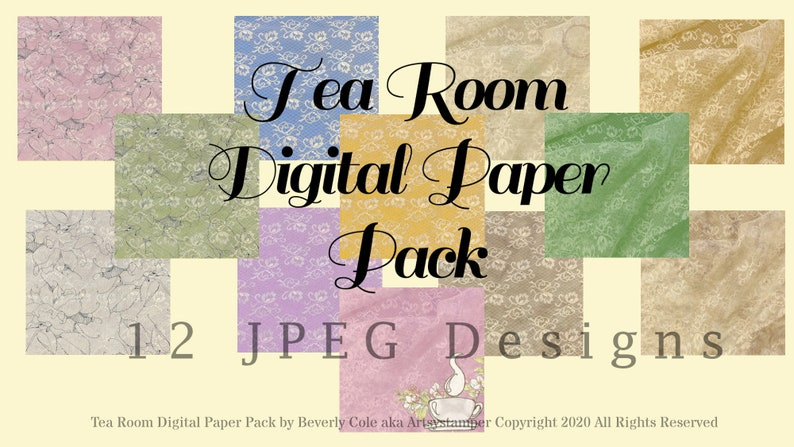 Tea Room Digital Paper Pack  12 Vintage Lacy JPEG Images for image 1