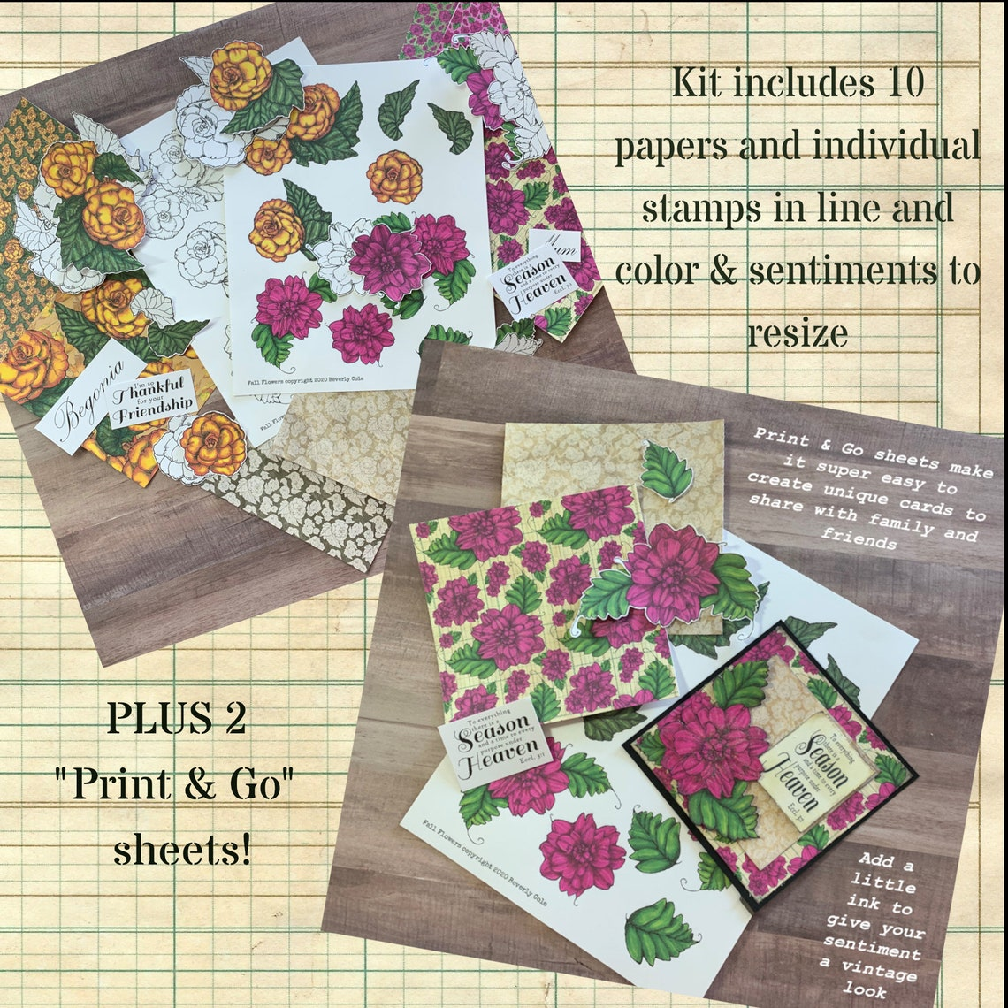 Fall Flowers Stamp & Paper Crafting Kit 18 Stamps Ten image 0