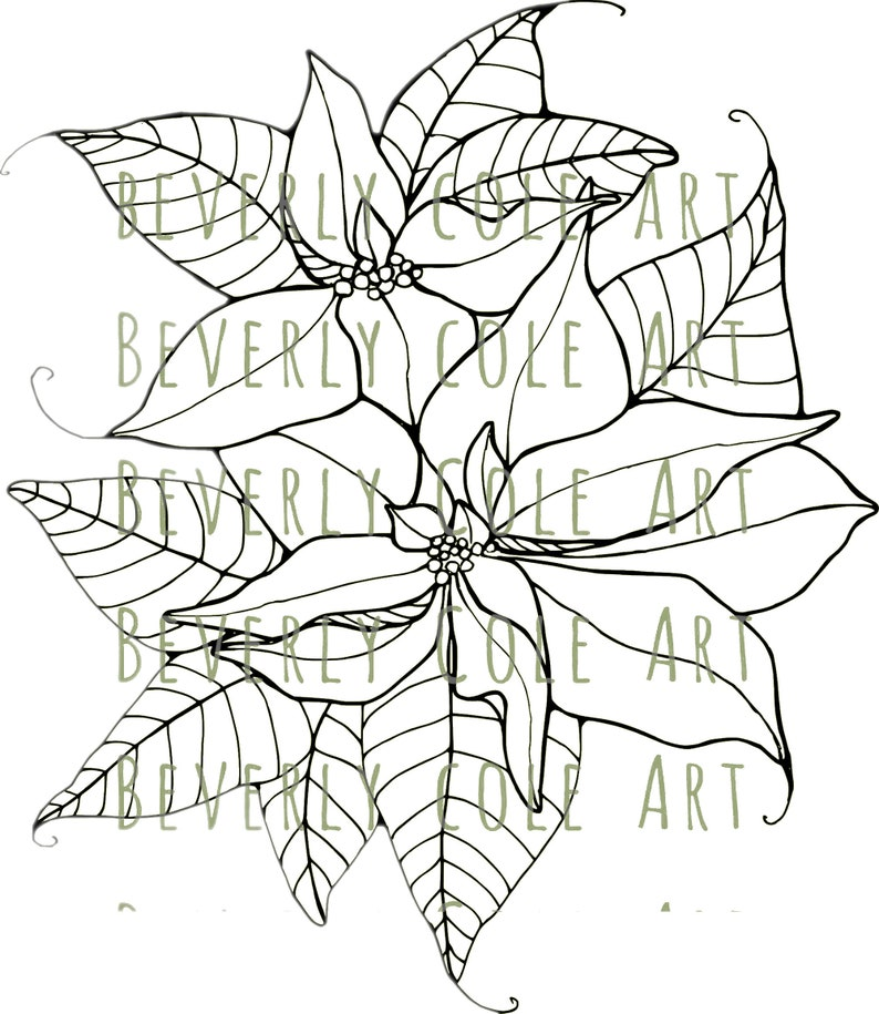 Poinsettia Pair Digital Stamp and Paper Set for Christmas image 2