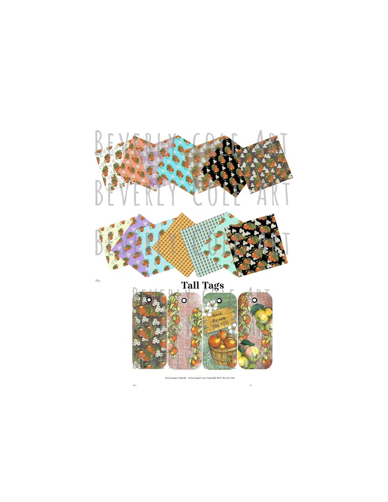 Fruit Stand Paper Pack JPG's for Crafting Scrapbooking image 0