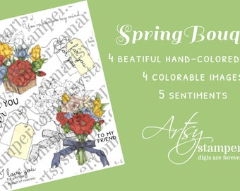 Spring Bouquet Stamp Set Camilia, Tulip, Crocus, Easter Flowers with Tag, Basket, and Ribbon by Beverly Cole aka Artsystamper PNG and JPG