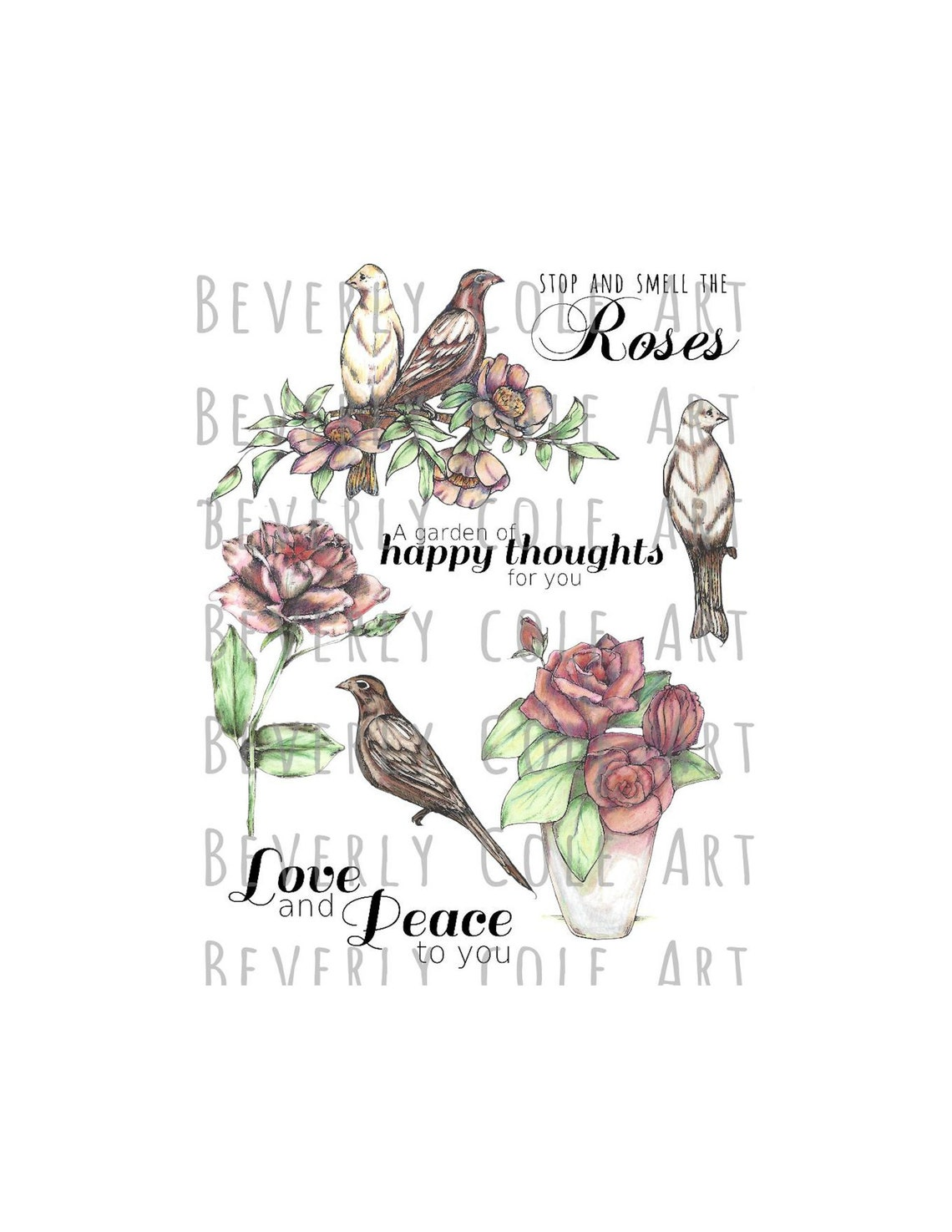 Vintage Roses & Birds Digital Stamp Set. For cards journals image 0