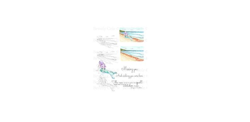 Mermaid Wishes Digital Stamp Set PNG Ocean Beach Fantasy image 0