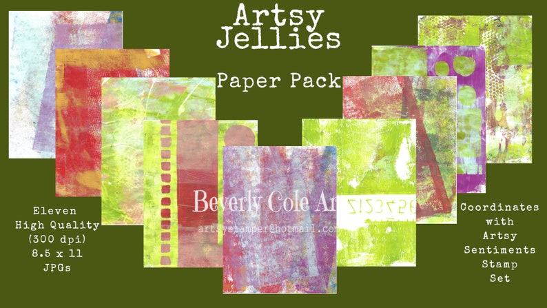 Artsy Jellies Paper Pack  Coordinates with Artsy Sentiments image 1