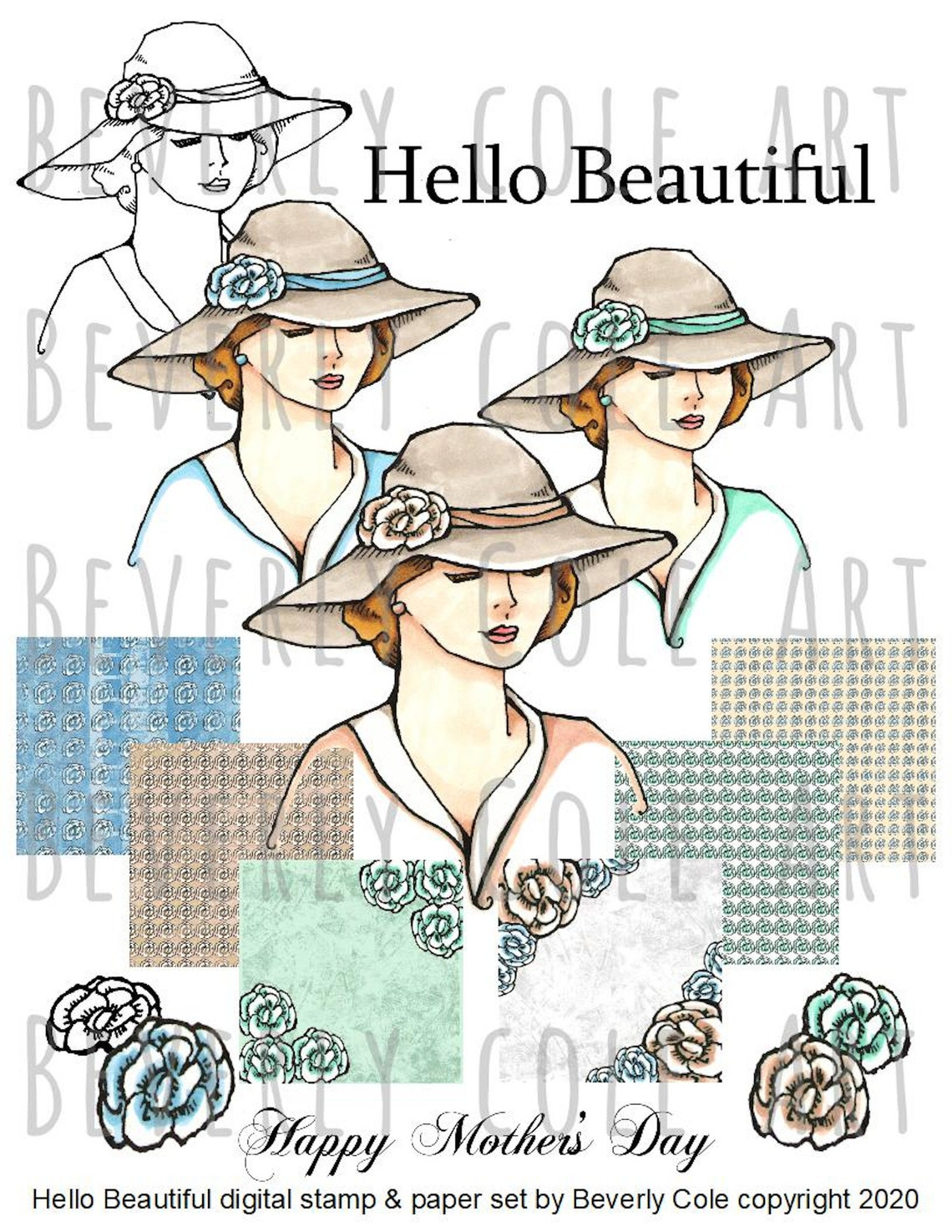 Hello Beautiful Digital Kit Stamps and Papers  resizable image 1