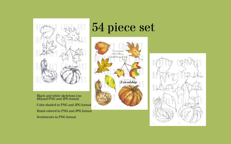 Autumn's Gifts Stamp Set for collage cards scrapbooking image 0