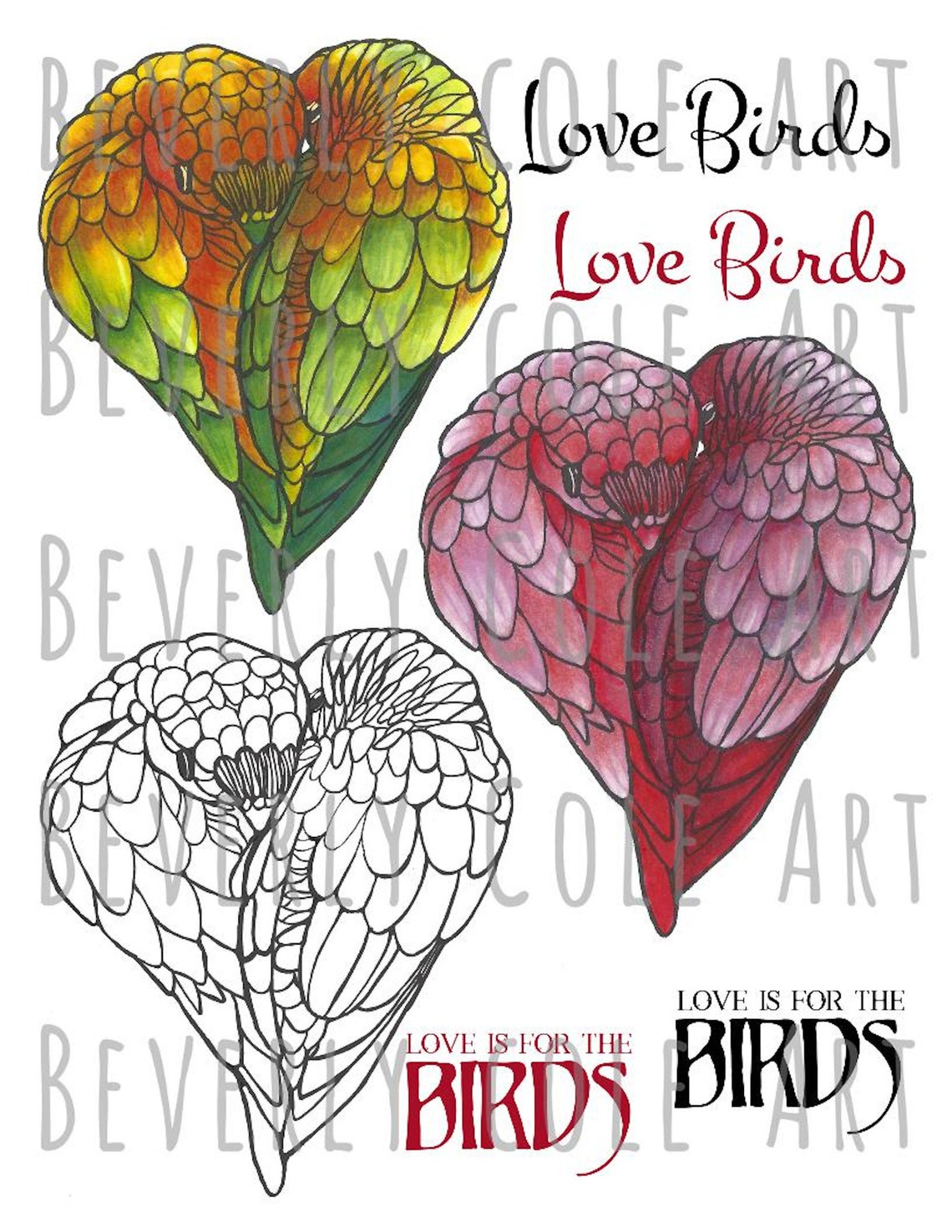 Love Birds Digital Stamp Set by Beverly Cole jpg png color image 1