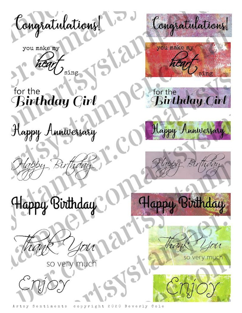 Artsy Sentiments Stamp Set with or without backgrounds. Easy image 1