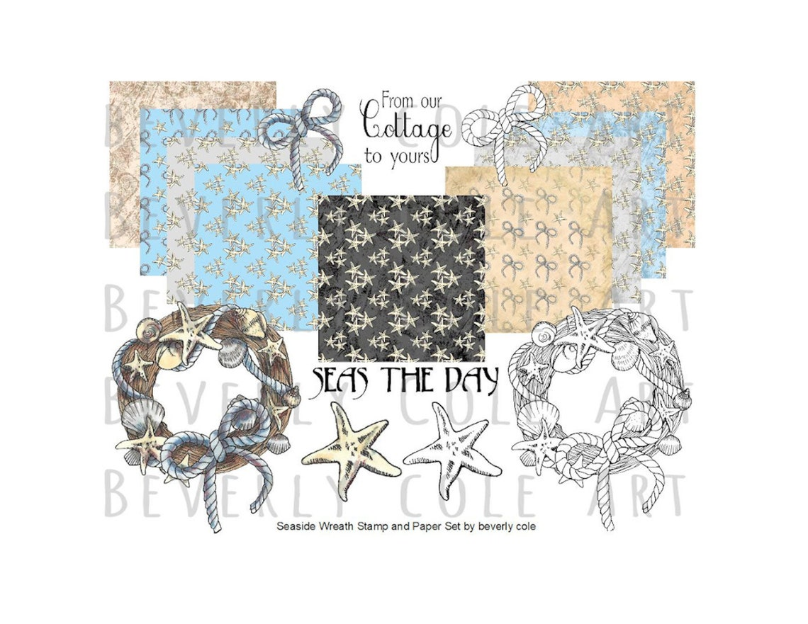 Seaside Wreath Stamp and Paper Kit. Resizable sets in color or image 0