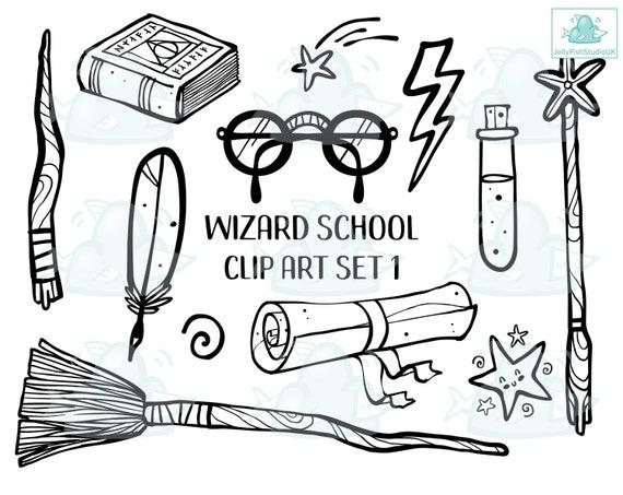 Harry Potter Svg Wizard School Clipart Set Planner Stickers Etsy