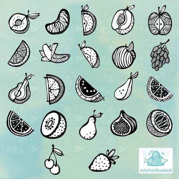 linework fruit clipart logo and design graphics planner sticker printables PNG JPEG fruit SVG Fruit clipart