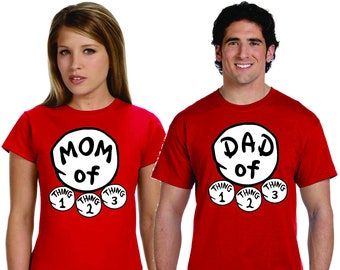 bc4f2e42 Mom Dad Of Things 1 Thing 2 Thing 3 Cute Family Shirts Adorable Dr Seuss  Shirts